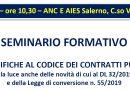 Lavori Pubblici: Seminario Formativo, Ance Aies Salerno 09 ottobre 2019